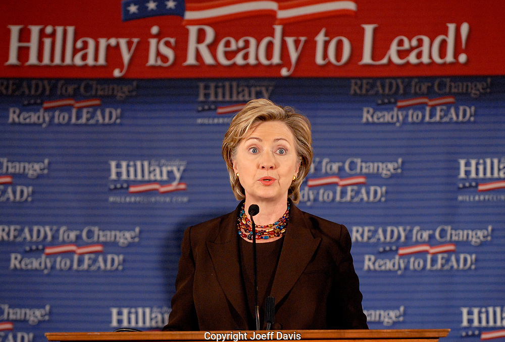 ATLANTA, GA - October 12, 2007: Hillary Clinton speaking after receiving the endorsement of Georgia congressman and civil rights icon John Lewis at Pascals restaurant in Atlanta, Georgia. <br /> <br /> In late, February 2008 Lewis dropped his endorsement for Clinton and instead announced he was for Barack Obama.