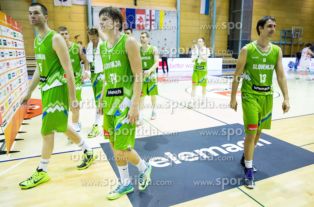 Jure Balazic of Slovenia, Jaka Klobucar of Slovenia, Domen Lorbek of Slovenia after the friendly basketball match between National teams of Slovenia and Georgia in day 2 of Adecco Cup 2014, on July 25, 2014 in Dvorana OS 1, Murska Sobota, Slovenia. Photo by Vid Ponikvar / Sportida.com