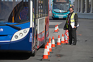 Judges marking a practical test during the Bus Driver of the Year competition in Blackpool. The event, first staged in 1967, attracted 105 entrants from across the United Kingdom who completed theory and practical driving test to determine who would win the 2013 award.