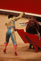 the kill - bullfight at Pamplona during the San Fermin Festival- Photograph by Owen Franken