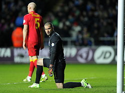 Boaz Myhill (West Bromwich Albion) of Wales looks back at the goal after conceding to Dejan Lovren's (Lyon) of Croatia wonder strike - Photo mandatory by-line: Joe Meredith/JMP - Tel: Mobile: 07966 386802 26/03/2013 - SPORT - FOOTBALL -  Liberty Stadium - Swansea -  Wales V Croatia - WORLD CUP QUALIFIER