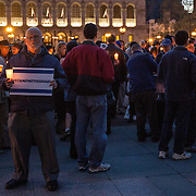Following a November, 18 terror attack in the Har Nof neighborhood of Jerusalem, Israel, a vigil is held in memory of the five victims at Copley Square on November 23, 2014 in Boston, Massachusetts. (Photo by Elan Kawesch/The Times of Israel)