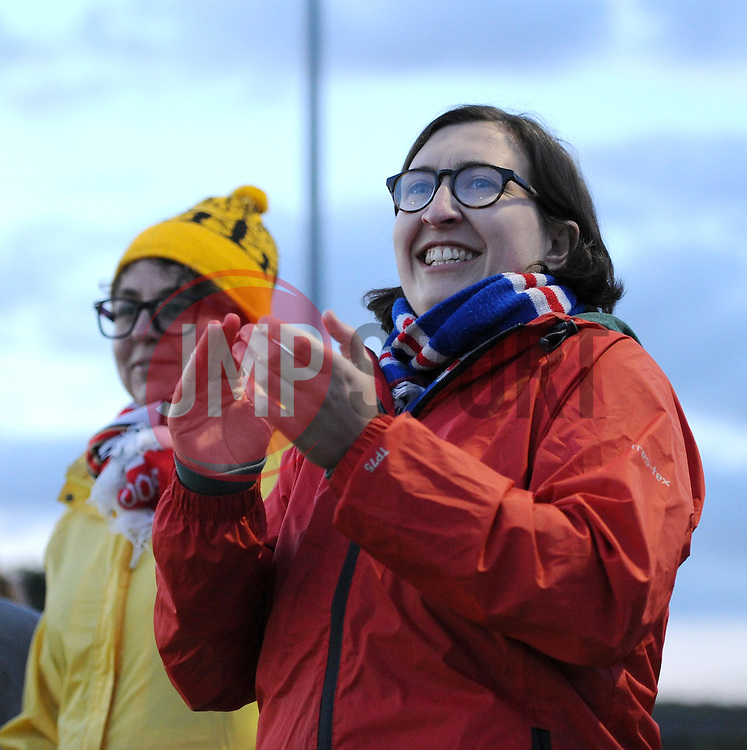 A Bristol Academy supporter cheers the team - Mandatory by-line: Paul Knight/JMP - Mobile: 07966 386802 - 05/09/2015 -  FOOTBALL - Stoke Gifford Stadium - Bristol, England -  Bristol Academy Women v Birmingham City Ladies FC - FA Women's Super League
