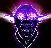 Glowing Yoda on black background