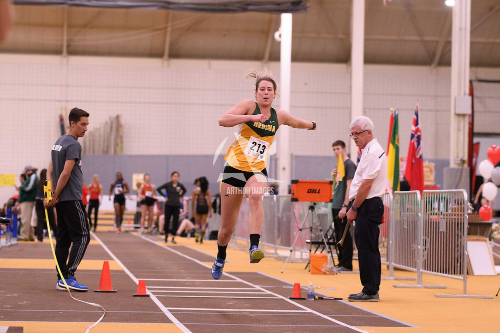 Erika Stockhorst in action during the 2018 Canada West Track & Field Championship on February  24 at James Daly Fieldhouse. Credit: Arthur Ward/Arthur Images