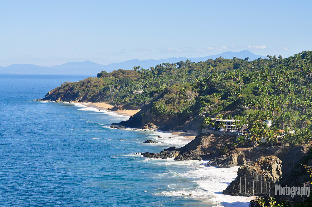 View looking north from cliffs in Nayarit, Mexico