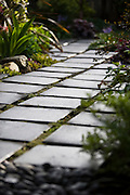 A modern walkway of black tile provides sharp contract to the greenery of a garden patio.