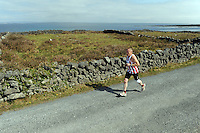 A weekend of glorious weather welcomed approximately 150 people from all over the country and abroad to Inis Mor , Arann Islands to participate in the annual Aer Arann half marathon.  Over the past ten years people have walked and ran the roads of Inis Mor to raise in excess of 1.2 million to purchase vital life saving equipment for sick children in both Crumlin and Temple Street hospitals.    Brian Cuddy from Meath came  Third. Photo:Andrew Downes.