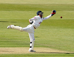 Hampshire's Adam Wheater tries to grab at the ball - Photo mandatory by-line: Robbie Stephenson/JMP - Mobile: 07966 386802 - 21/06/2015 - SPORT - Cricket - Southampton - The Ageas Bowl - Hampshire v Somerset - County Championship Division One