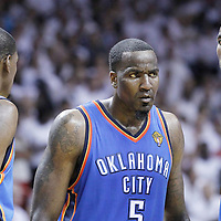 21 June 2012: Oklahoma City Thunder small forward Kevin Durant (35), Oklahoma City Thunder power forward Serge Ibaka (9) and Oklahoma City Thunder power forward Serge Ibaka (9) are seen during the second quarter of Game 5 of the 2012 NBA Finals, at the AmericanAirlinesArena, Miami, Florida, USA.