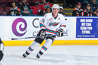 KELOWNA, CANADA - MARCH 5: Joe Gatenby #28 of Kelowna Rockets warms up against the Kamloops Blazers on March 5, 2016 at Prospera Place in Kelowna, British Columbia, Canada.  (Photo by Marissa Baecker/Shoot the Breeze)  *** Local Caption *** Joe Gatenby;
