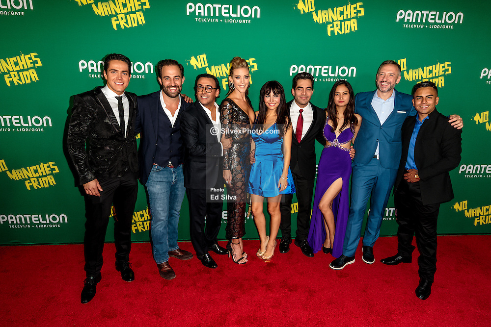 LOS ANGELES, CA - AUGUST 31 Left to right Actor mario Moran, movie executive, Actor Adal Ramones, Actess Fernanda Castillo, Actress Martha Higareda, Actor Omar Chaparro, Actress Karen Furlong, movie executive and Actor Memo Dorantes pose for the press at the red carpet premiere of the film No Manches Frida the the Regal Cinemas in downtown Los Angeles on Tuesday night 2016 August 31. Byline, credit, TV usage, web usage or linkback must read SILVEXPHOTO.COM. Failure to byline correctly will incur double the agreed fee. Tel: +1 714 504 6870.