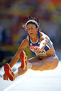 Anastasia Perra from Grecce competes in women's triple jump qualification during the 14th IAAF World Athletics Championships at the Luzhniki stadium in Moscow on August 13, 2013.<br /> <br /> Russian Federation, Moscow, August 13, 2013<br /> <br /> Picture also available in RAW (NEF) or TIFF format on special request.<br /> <br /> For editorial use only. Any commercial or promotional use requires permission.<br /> <br /> Mandatory credit:<br /> Photo by &copy; Adam Nurkiewicz / Mediasport