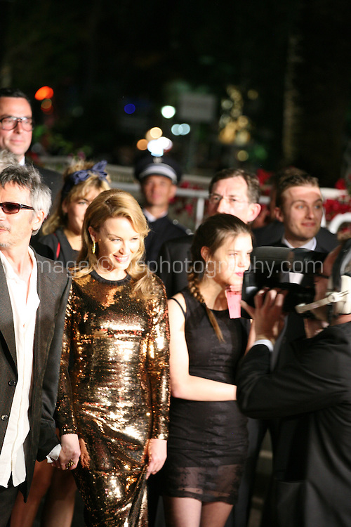 Leos Carax, Kylie Minogue, Jeanne Disson, at the Holy Motors gala screening, red carpet at the 65th Cannes Film Festival France. Wednesday 23rd May 2012 in Cannes Film Festival, France.
