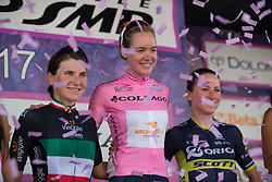 The overall top three after Stage 10 of the Giro Rosa - a 124 km road race, starting and finishing in Torre Del Greco on July 9, 2017, in Naples, Italy. (Photo by Balint Hamvas/Velofocus.com)