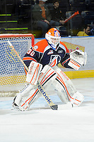 KELOWNA, CANADA, FEBRUARY 11: Cam Lanigan #30 of the Kamloops Blazers defends the net as the Kamloops Blazers visit the Kelowna Rockets on February 11, 2012 at Prospera Place in Kelowna, British Columbia, Canada (Photo by Marissa Baecker/www.shootthebreeze.ca) *** Local Caption ***