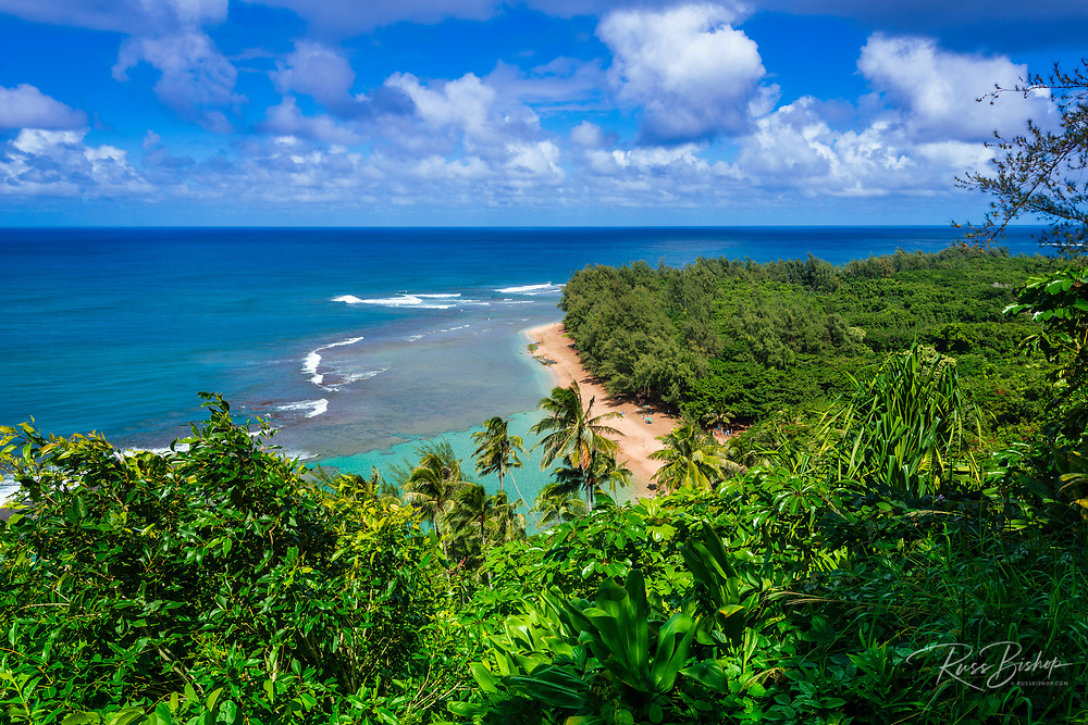 Ke'e Beach from the Kalalau Trail, Na Pali Coast, Kauai, Hawaii USA