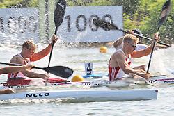 07.08.2014, Krylatskoe, Moskau, RUS, ICF, Kanu WM 2014, Moskau, im Bild Max Rendschmidt (Essen) und Marcus Gross (Berlin) siegen im Vorlauf KII 1.000m // during the ICF Canoe Sprint World ?hampionships 2014 at the Krylatskoe in Moskau, Russia on 2014/08/07. EXPA Pictures © 2014, PhotoCredit: EXPA/ Eibner-Pressefoto/ Freise<br /> <br /> *****ATTENTION - OUT of GER*****