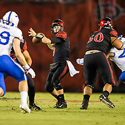 12 October 2018: San Diego State Aztecs quarterback Ryan Agnew (9) drops back to pass in the second quarter. The San Diego State Aztecs lead 14-9 at the half against the Air Force Falcons at SDCCU Stadium Friday night.