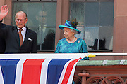 Deutschland | Frankfurt | 25.06.2015 : Queen Elisabeth II is visiting Frankfurt during her trip to Germany<br /> <br /> here: Queen Elisabeth II and Prince Philip on the balcony of Frankfurt's twon hall &quot;R&ouml;mer&quot; <br /> <br /> 20150625<br /> Sascha Rheker