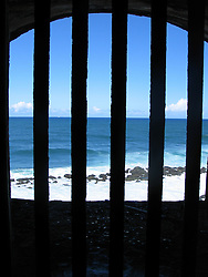 View of the beach from old fort in San Juan, Puerto Rico.<br />