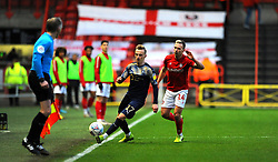 Andi Weimann of Bristol City applies pressure on Marcel Ritzmaier of Barnsley-Mandatory by-line: Nizaam Jones/JMP - 18/01/2020 - FOOTBALL - Ashton Gate - Bristol, England - Bristol City v Barnsley - Sky Bet Championship