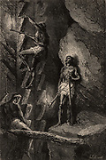 Miners in Chihuahua, Mexico, ascending a mineshaft by means of crude steps carrying candles attached to sticks to light their way. Descending and ascending such shafts was a daily hazard.  The state of Chihuahua has been a source of silver, gold and mercury for many centuries.  From  'Underground Life; or, Mines and Miners' by Louis Simonin (London, 1869). Wood engraving.