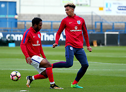 Lloyd Kelly of England Under 20s and Kaylen Hinds of England Under 20s warm up - Mandatory by-line: Robbie Stephenson/JMP - 31/08/2017 - FOOTBALL - Telford AFC - Telford, United Kingdom - England v The Netherlands - International Friendly