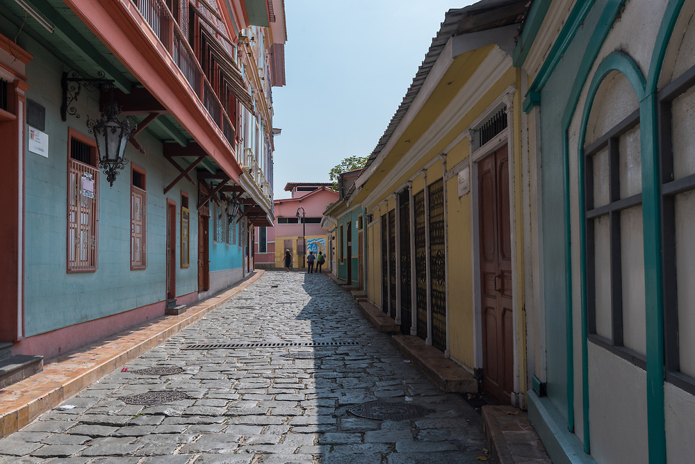 A side street in the La Pensa artists district in Guayaquil, Ecuador
