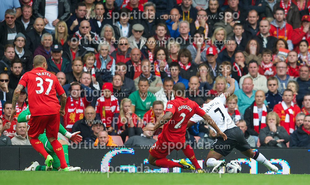 23.09.2012, Anfield, Liverpool, ENG, Premier League, FC Liverpool vs Manchester United, 5. Runde, im Bild Manchester United's Antonio Valencia goes down in the penalty area under a challenge from Liverpool's Glen Johnson, and a penalty is awarded, during the English Premier League 5th round match between Liverpool FC and Manchester United at Anfield, Liverpool, Great Britain on 2012/09/23. EXPA Pictures © 2012, PhotoCredit: EXPA/ Propagandaphoto/ David Rawcliff..***** ATTENTION - OUT OF ENG, GBR, UK *****