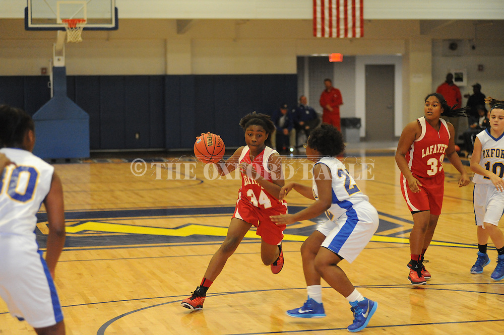 Oxford Middle School vs. Lafayette Middle School in girls 7th grade basketball action in Oxford, Miss. on Thursday, December 11, 2014.