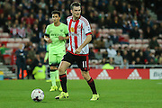Sunderland midfielder Adam Johnson during the Capital One Cup match between Sunderland and Manchester City at the Stadium Of Light, Sunderland, England on 22 September 2015. Photo by Simon Davies.