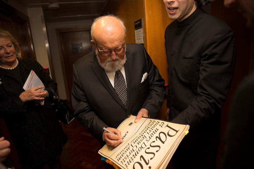Polish composer Krzysztof Penderecki backstage signing the score for Vladimir Jurowski