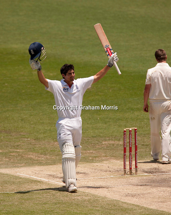 Alastair Cook celebrates his 200 during the first Ashes Test Match between Australia and England at the Gabba, Brisbane. Photo: Graham Morris (Tel: +44(0)20 8969 4192 Email: sales@cricketpix.com) 29/11/10