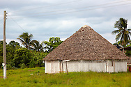 Round thatched meeting place in the Macurije area, Pinar del Rio, Cuba.