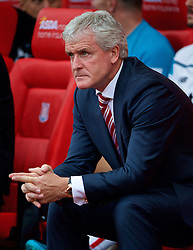 STOKE-ON-TRENT, ENGLAND - Sunday, August 9, 2015: Stoke City's manager Mark Hughes before the Premier League match against Liverpool at the Britannia Stadium. (Pic by David Rawcliffe/Propaganda)