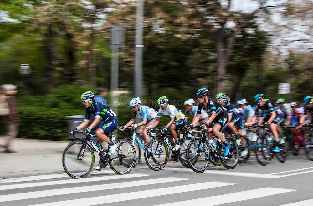 The peloton climbs Montjuic, Barcelona, on the last stage of the Volta Catalunya 2016 cycling race. The leader, Nairo Quintana (3rd from left) successfully defended his jersey from Alberto Contador and Dan Martin.<br /> <br /> El pelotón sube Montjuic, Barcelona, en la última etapa de la carrera ciclista Volta Catalunya 2016. El líder, Nairo Quintana, defendiendo con éxito su maillot de Alberto Contador y Dan Martin.<br /> <br /> El gran grup puja Montjuïc, Barcelona, en l'última etapa de la cursa ciclista Volta Catalunya 2016. El líder, Nairo Quintana, defensant amb èxit el seu mallot d'Alberto Contador i Dan Martin.