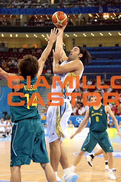 DESCRIZIONE : Beijing Pechino Olympic Games Olimpiadi 2008 Argentina Australia<br />GIOCATORE : Luis Scola<br />SQUADRA : Argentina<br />EVENTO : Olympic Games Olimpiadi 2008<br />GARA : Argentina Australia<br />DATA : 12/08/2008 <br />CATEGORIA : Tiro<br />SPORT : Pallacanestro <br />AUTORE : Agenzia Ciamillo-Castoria/G.Ciamillo<br />Galleria : Beijing Pechino Olympic Games Olimpiadi 2008 <br />Fotonotizia : Beijing Pechino Olympic Games Olimpiadi 2008 Argentina Australia<br />Predefinita :