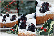 Collage with details of blackberry cake on Christmas table, decorated with blackberries and holly.