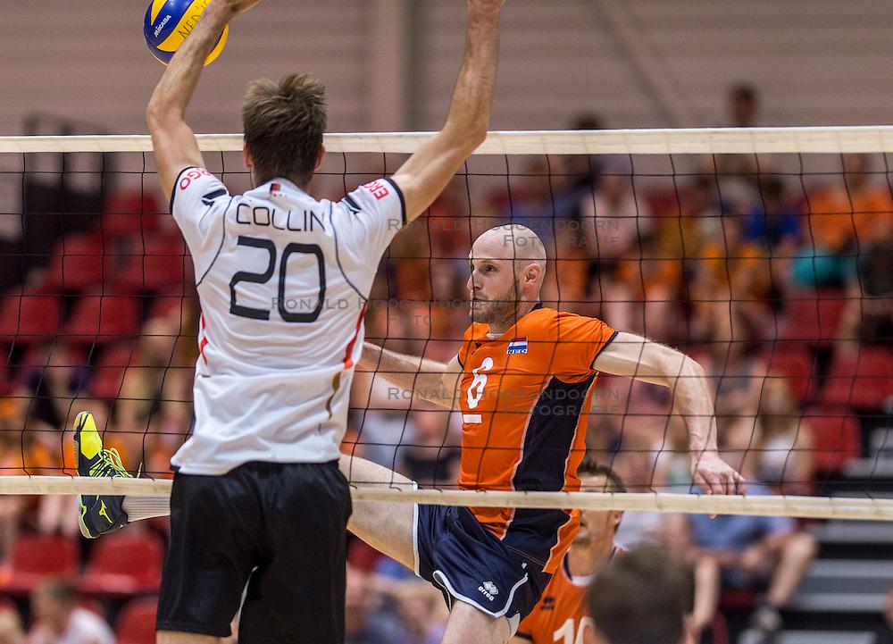 05-06-2016 NED: Nederland - Duitsland, Doetinchem<br /> Nederland speelt de laatste oefenwedstrijd ook in  Doetinchem en speelt gelijk 2-2 in een redelijk duel van beide kanten / Jasper Diefenbach #6