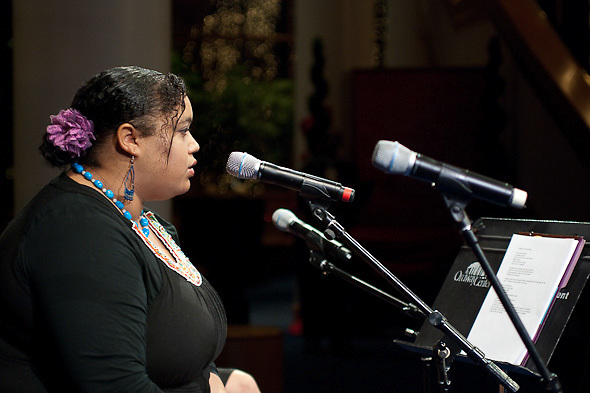 Shira Naharit reads her poetry at the Contra-Tiempo Ordway Extra
