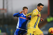 Andy Cannon, Lee Gregory during the Sky Bet League 1 match between Rochdale and Millwall at Spotland, Rochdale, England on 13 February 2016. Photo by Daniel Youngs.