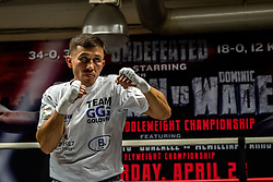SANTA MONICA, CA - APRIL 20 WBA/IBF middleweight champion Gennady Golovkin (34-0, 31 KOs) decided to do his usual, full fledged training session with Abel Sanchez, while his opponent Dominic Wade (18-0, 12 KOs) hopefully wanted to save his best for Saturday night when both fighters will face each other at The Forum in Los Angeles. The event will be televised Live on HBO World Championship Boxing Beginning at 10:00p.m. ET/PT. 2016 April 20.  Byline, credit, TV usage, web usage or linkback must read SILVEXPHOTO.COM. Failure to byline correctly will incur double the agreed fee. Tel: +1 714 504 6870.