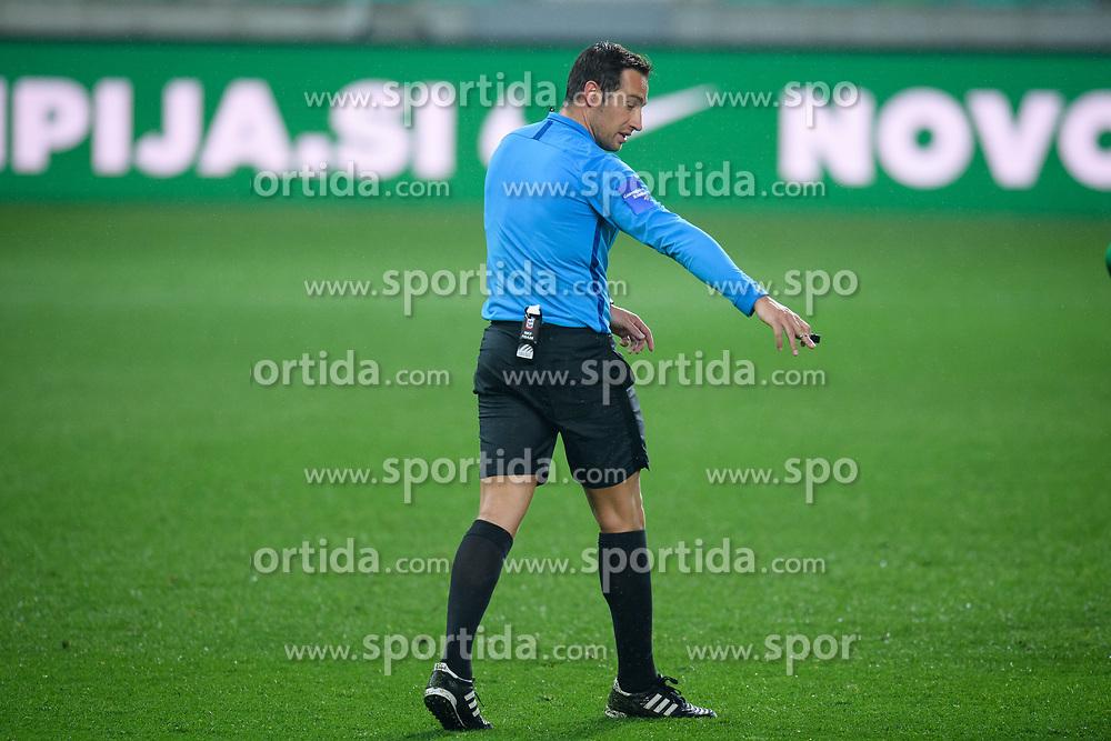 Referee Nejc Kajtazovic during football match between NK Olimpija Ljubljana and NK Aluminij in semi final of Slovenian Cup 2018/19, on April 23, 2019 in Stozice Stadium, Ljubljana, Slovenia. Photo by Morgan Kristan