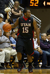 Jan 14, 2012; Berkeley CA, USA;  Utah Utes guard Josh Watkins (15) dribbles the ball against the California Golden Bears during the second half at Haas Pavilion. California defeated Utah 81-45. Mandatory Credit: Jason O. Watson-US PRESSWIRE