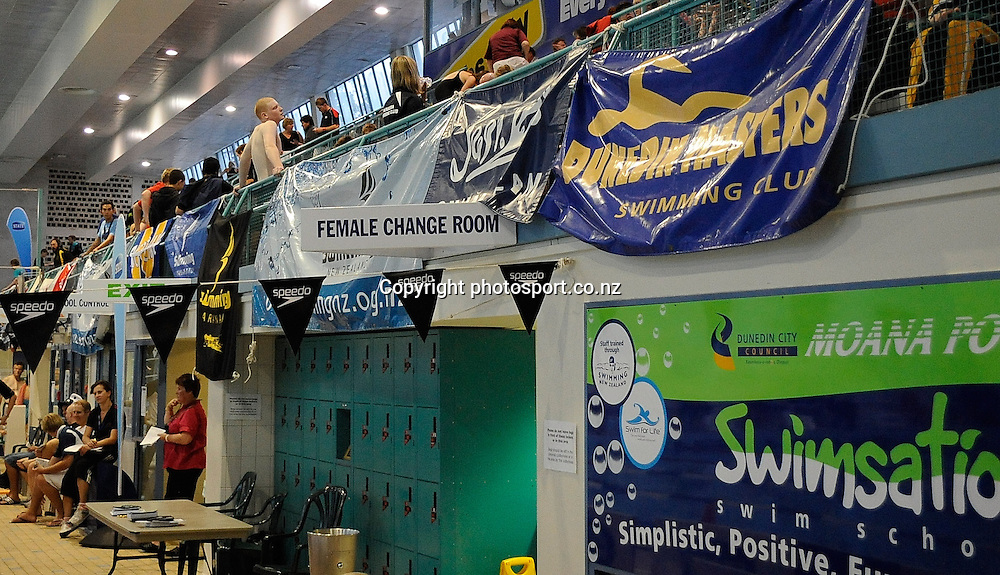 Signage, at the State New Zealand Division II Swimming Champs, at Moana pool, Dunedin, New Zealand. Friday13 April 2012. Photo: Richard Hood photosport.co.nz