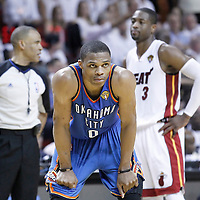 21 June 2012: Oklahoma City Thunder point guard Russell Westbrook (0) rests during the Miami Heat 121-106 victory over the Oklahoma City Thunder, in Game 5 of the 2012 NBA Finals, at the AmericanAirlinesArena, Miami, Florida, USA. The Miami Heat wins the series 4-1.