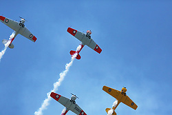The Harvards of New Zealand's Roaring Forties display team as the pilots' show their aerobatic skills at the Tauranga City Airshow, Tauranga, New Zealand, Saturday, January 20,  2018. Credit:SNPA / Richard Moore **NO ARCHINVING**
