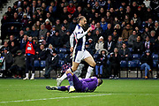 West Bromwich Albion forward Jay Rodriguez (19) catches Blackburn Rovers goalkeeper David Raya (1) resulting in a broken nose and the need to be substituted leaving Blackburn with ten men during the EFL Sky Bet Championship match between West Bromwich Albion and Blackburn Rovers at The Hawthorns, West Bromwich, England on 27 October 2018.