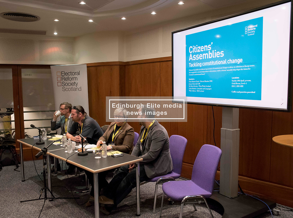 Pictured: speakers at the fringe meeting on citizen's assemblies.<br /> <br /> The SNP held their spring conference at the EICC in Edinburgh, where independence and brevet were high on the agenda.<br /> <br /> © Dave Johnston / EEm